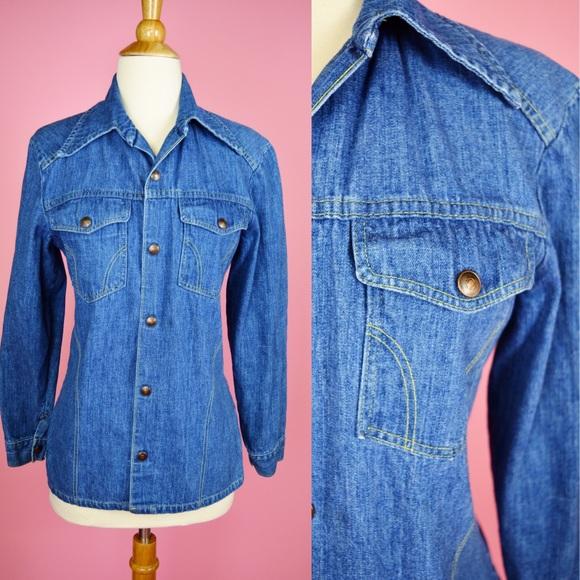 6e0eba535 ✌🏼Vintage 70s Denim Top Jean Shirt Button Up. M_5b8c353e800dee478a4432cc
